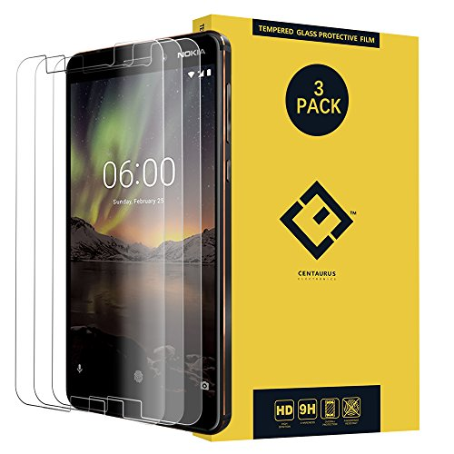 CENTAURUS Replacement for Nokia 6 Screen Protector, (3 Packs) Anti-Glare 9H Hardness Shatter Proof Anti-Scratch Tempered Glass Protective Film Nokia 6 (2017) TA-1000 TA-1003 TA-1033 TA-1025 5.5 inch ()