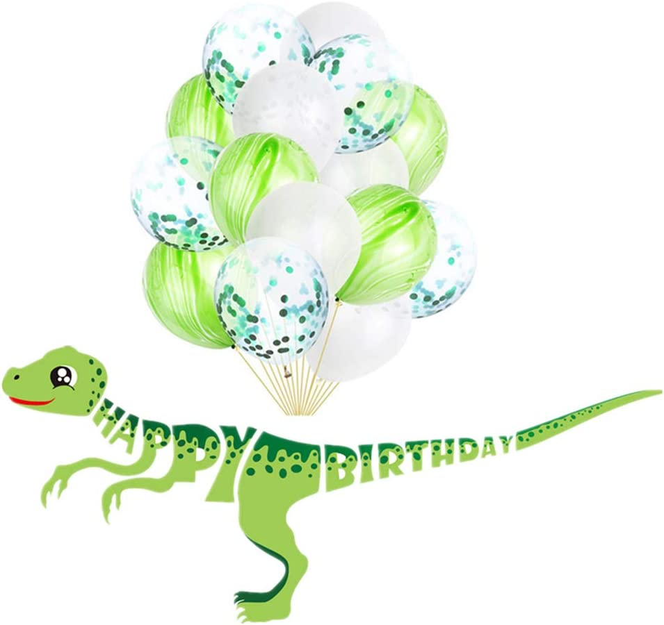 Tellpet Dinosaur HAPPY BIRTHDAY Banner with 15 pcs Confetti Balloons Party Decorations Supplies Backdrop for Kids Boys, Green