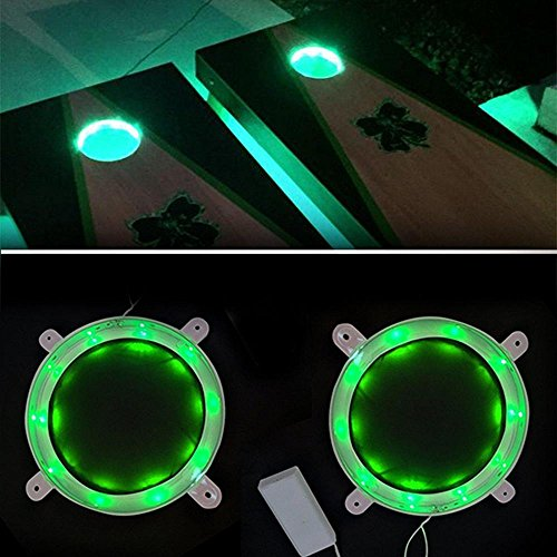 "iBetterLife Cornhole Lights Set of 2, 6"" Standard Corn Hole Board Night Light w/ 10 Ultra Bright LED, Includes Screws Easy Mounting, Long Lasting, Enjoy Your Bean Bag Toss Game for Hours (Green)"