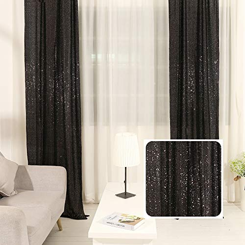 TRLYC 2FTX8FT Christmas Black Sequin Curtain Panel for FatherDay Wedding Party