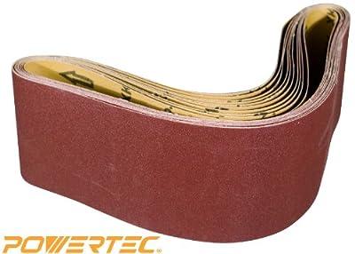 POWERTEC 110680 4-Inch x 36-Inch 80 Grit Aluminum Oxide Sanding Belt, 10-Pack from POWERTEC