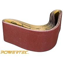 POWERTEC 110150 4-Inch x 36-Inch 240 Grit Aluminum Oxide Sanding Belt, 10-Pack