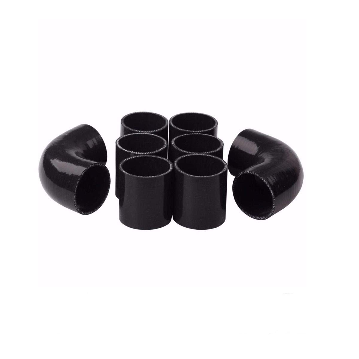 Coupler Black TRIL GEAR 8PCS Universal 2 Inch Aluminum Intercooler Piping U-Pipe Kit T-Clamps