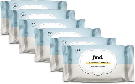 FIND - Toallitas desmaquilladoras con Aceite Micelar- 6x25 toallitas ...