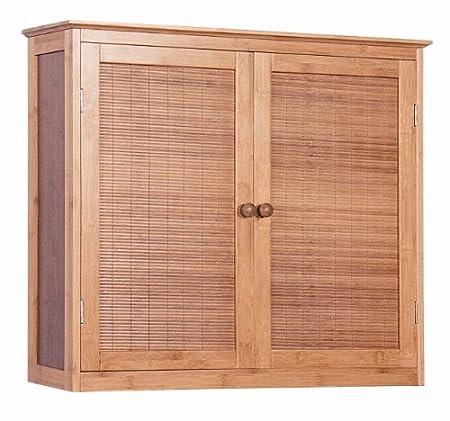 Bambus Hängeschrank Badezimmerschrank 2 Türig Badezimmer Möbel Bad:  Amazon.de: Küche U0026 Haushalt