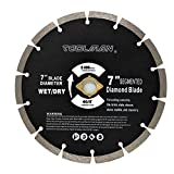 Toolman Circular Saw Blade Universal Fit 7' Wet Dry Diamond Masonry for Tile Marble Concrete brick works with DeWalt Makita Ryobi