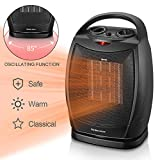 WARMTEC 1500W Oscillating Ceramic Space Heater with Adjustable Thermostat,Portable Electric Heater Fan with Overheat Protection and Carry Handle (Black)