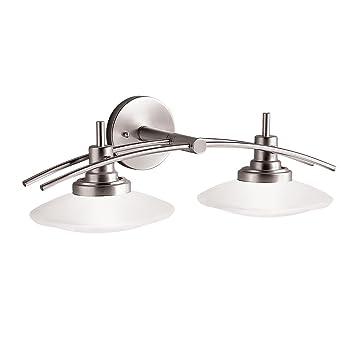 Brushed Nickel Bathroom Lighting Fixtures: Kichler Lighting 6162NI Structures Wall-Mount 2-Light Halogen Bath Light  with Glass Shades,Lighting