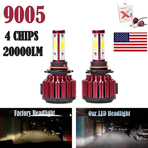 2Pcs 9005 LED Headlight Bulbs Conversion Kit HB3/H10 Car Headlamp 20000LM 6000K Cool White Hi/Lo Beam DRL Fog Light Replace for Halogen HID - Plug and Play