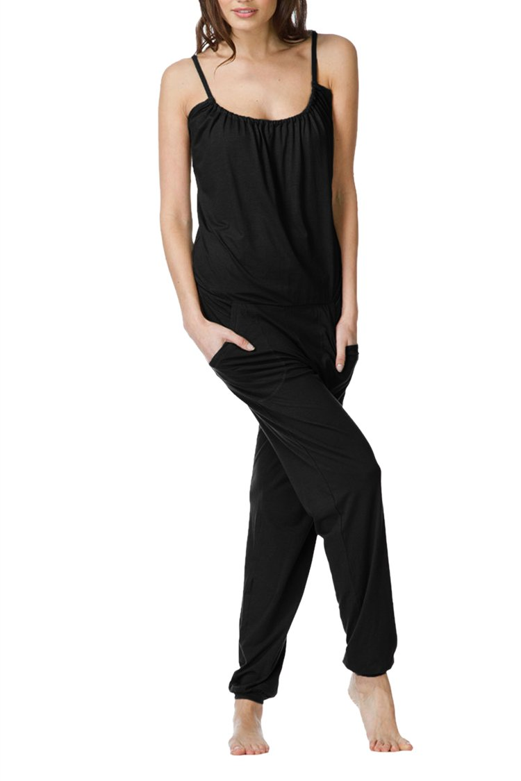 Linsery Women's Summer Casual Spaghetti Strap Sleeveless Jumpsuits Overalls,Black-1747,Small by Linsery (Image #4)