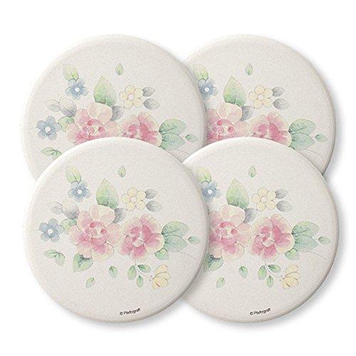 Pfaltzgraff Tea Rose Naturestone Coasters, 4-Inch, Set of 4 ()
