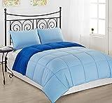 Light Blue/Royal Blue KING Size 3-Piece Reversible Down Alternative Comforter Set by Cozy Beddings