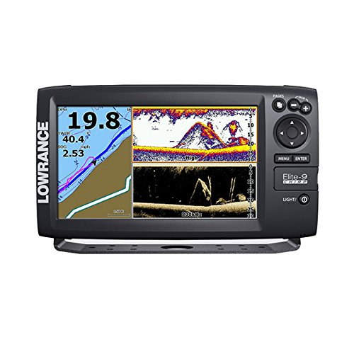Lowrance 000-12180-001 Elite-9 Fishfinder/Chartplotter with US Basemap, 50/200KHz Chirp and 455/800KHz DownScan Transducer