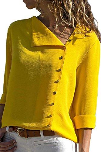 Spcial Cou Shirt Chemise Boutonnage Femme Mousseline Style Uni Longues Rglable Printemps Manches Simple Tops Casual Gelb Elgante V Manche Mode Chemisiers Confortable 8w7SfqTfF