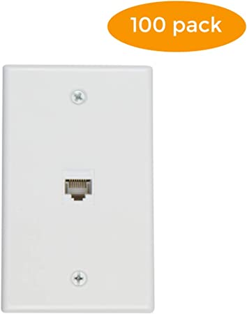 Female-Female White 10, 1 Port Buyers Point 1 Port Cat6 Ethernet Wall Plate