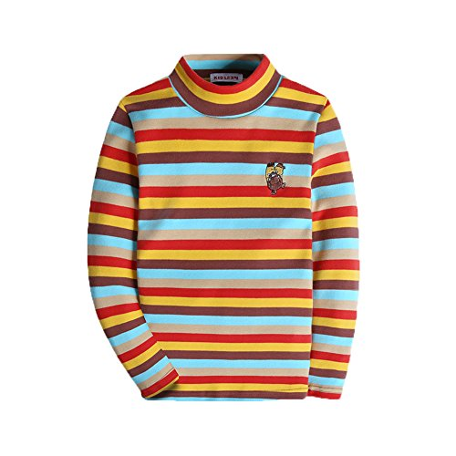 KID1234 Boy Long Sleeve Shirt Turtleneck T-Shirt Striped Tops Clothes Kids Girl Sweater Knitted Red ()