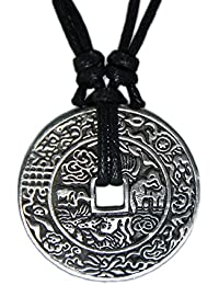 Chinese Lucky Coin Charm Pewter Pendant + Rope Necklace Adjustable …
