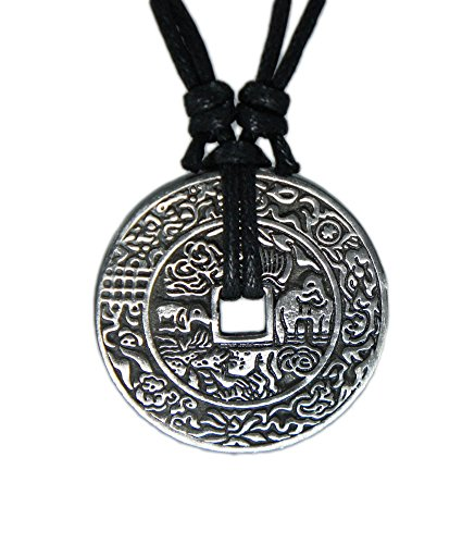 Lucky Charm Pendant Necklace (Chinese Lucky Coin Charm Pewter Pendant + Rope Necklace Adjustable - Chinese)