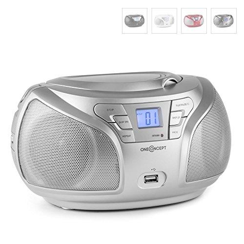 oneConcept Groovie SL tragbarer CD-Player Küchenradio CD-Radiorekorder (Bluetooth, CD-Wechsler, UKW-Radio, AUX, MP3-fähiger USB-Slot, Tragegriff, Batterie-u. Netz-Betrieb) silber