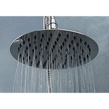 Cb's Bundles 8 Inch Chrome Rainfall High Pressure Shower Head - 2.5 GPM Low Flow Rate Fixed Waterfall Showerhead