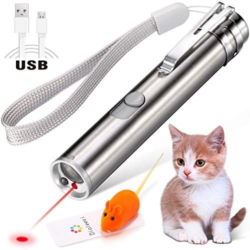 Dialeesi Laser Pointer for Cats USB Rechargeable, Cat Dog Interactive Lazer Toy, Pet Training Exercise Chaser Tool, 3 Mode - Red Light LED Flashlight UV Light with A Squeaky Mouse