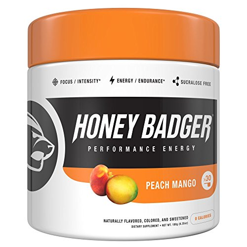 Honey Badger Performance Energy Natural Pre Workout For Men   Women  Peach Mango  Naturally Flavored  30 Servings  Sucralose Free  No Artificial Colors Or Sweeteners  Beta Alanine