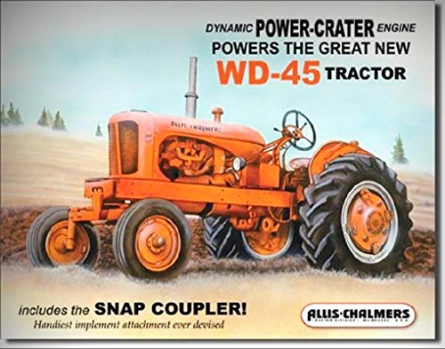Allis-Chalmers WD-45 Antique Tractor TIN SIGN Metal Wall Decor Art Poster Ad for Home/Man Cave Decor by PrettyMerchant