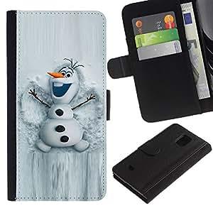All Phone Most Case / Oferta Especial Cáscara Funda de cuero Monedero Cubierta de proteccion Caso / Wallet Case for Samsung Galaxy S5 Mini, SM-G800 // Snowman White Winter Cartoon Character