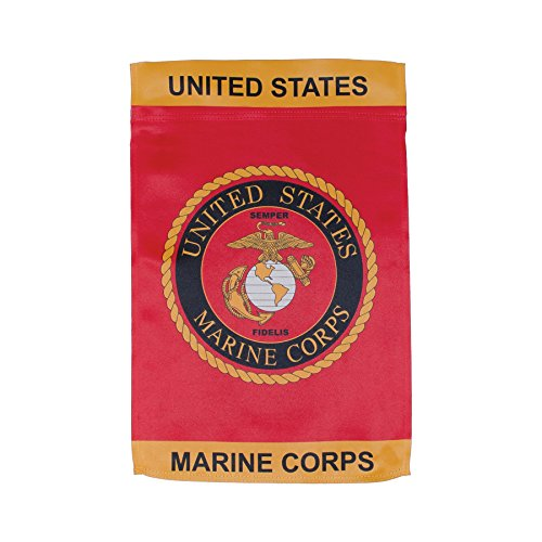In the Breeze U.S. Marine Corps Emblem Lustre Garden Flag - Double Sided Military Service Flag