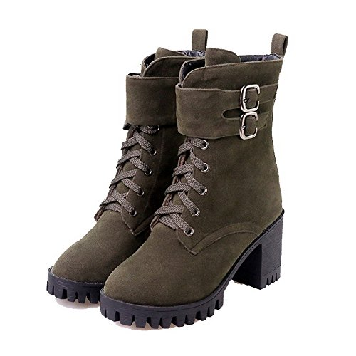 AgooLar Women's Imitated Suede High-Heels Round-Toe Solid Lace-up Boots Army Green h4o3sTnNW5
