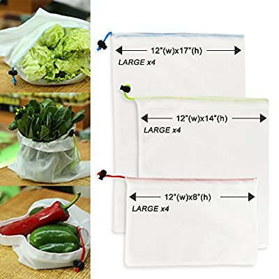 Reusable Mesh Produce Bags, Eco Friendly Grocery Shopping & Storage Bags For Fruit Vegetables,Garden Produce,Machine Washable set of 12 with by Best buy tool