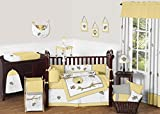 Sweet Jojo Designs 9-Piece Honey Bumble Bee Hive Yellow, Gray and White Unisex Baby Girl or Boy Crib Bedding Set