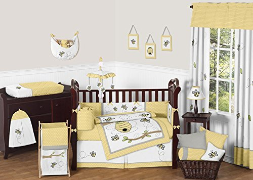 Sweet Jojo Designs 9-Piece Honey Bumble Bee Hive Yellow, Gra
