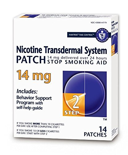 Habitrol Nicotine Transdermal System Stop Smoking Aid, Step 2 (14 mg), 14 Patches Pack of 6