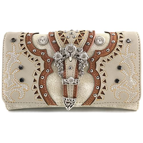 Crossbody Laser Beige Triple Trifold Cut Western Wallet Concealed Flower Embroidered Justin Trifold Layer Wallet Buckle Only West Silver Carry Studded Messenger q0xSO