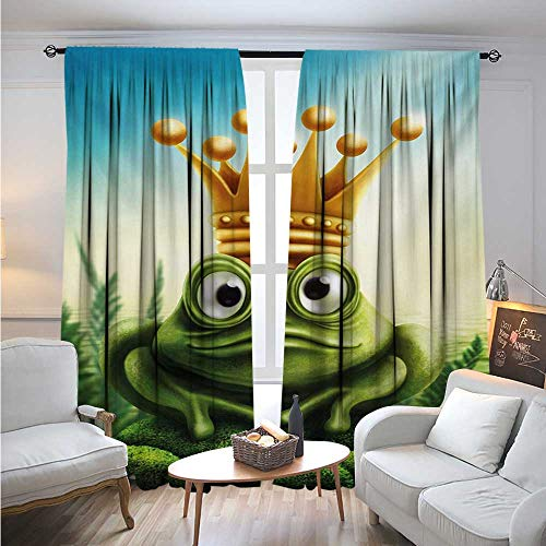 (BlountDecor KingBlackout DrapesFrog Prince on Moss Stone with Crown Fairytale Inspired Cartoon ImageDarkening Blackout Curtain W96 x L96 Forest Green and Yellow)