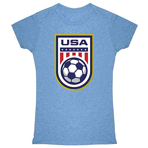 (USA Soccer Team National Crest Girls or Boys Heather Blue 2XL Womens Tee Shirt)