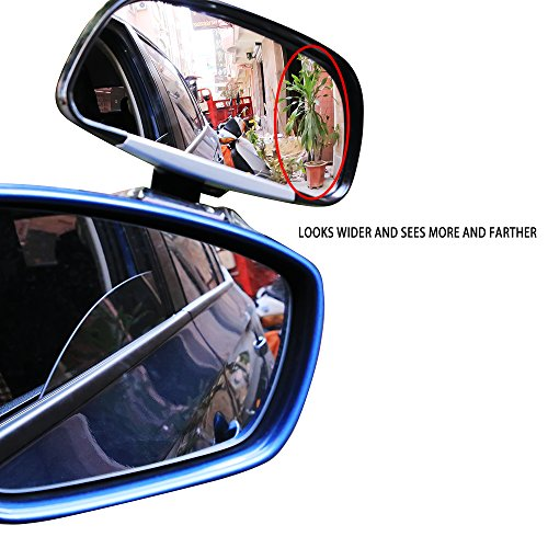 YAN203 Wide-Angle Side-View Mirror, Rectangle Wide Adjustable Angle Convex Clip On Half Oval Rear View Conter Blind Spot Angle Auxiliary Mirrors For Car
