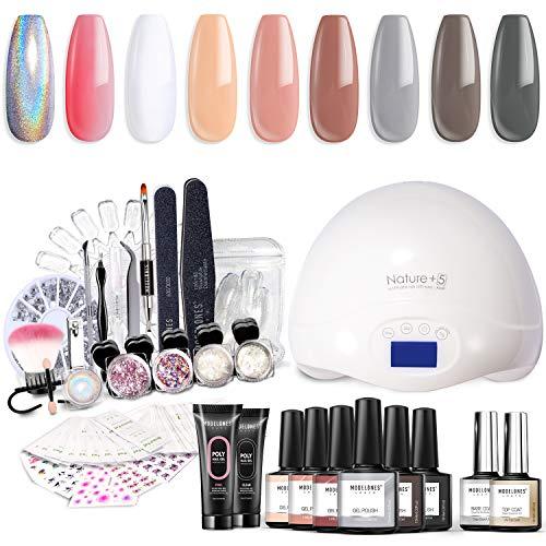 Modelones Gel Nail Polish Starter Kit with UV Light,48W UV/LED Nail Lamp,Soak off Poly Nail Gel,Glitter Powder Manicure Tools,6 Color Gel Polish 10ml