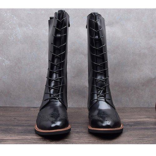 NIUMJ Alti Scarpe Tendenze Moda Black della Stringate Stivali Appuntito Inverno Autunno Martin Stivali Stivali Coreani E BwxBFrqp