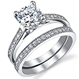 1.25 Carat Round Brilliant Cubic Zirconia Sterling Silver 925 Wedding Engagement Ring Band Set 6.5