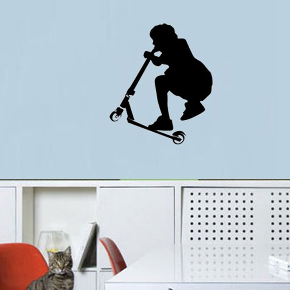 Amazon colorfulhall 2165 x 2559 black color a stunt amazon colorfulhall 2165 x 2559 black color a stunt scooter boy wall art decal sticker for kids room decoration home kitchen amipublicfo Gallery