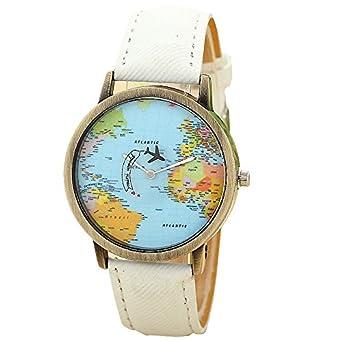 Mini world unisex watch world map moving aeroplane second hand mini world unisex watch world map moving aeroplane second hand analogue quartz bronzewhite gumiabroncs Images