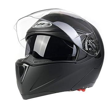 Sunjing Casco con Doble Lente Frontal Abierto Casco Modular con Moto Casco De Moto Racing Casco