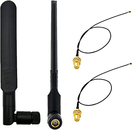 """Pigtail Cable and 2DBi RP-SMA Antenna Set for Mini PCI-E WiFi Adapters 8/"""" 20cm"""