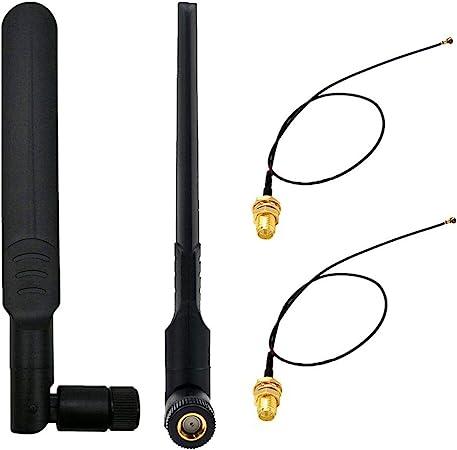 WayinTop 2 Set 8dBi 2.4GHz 5GHz Red Inalámbrica WiFi RP-SMA Femenino Antena + 20cm IPEX a RP-SMA Masculino Cable Pigtail para NGFF/M.2 WiFi/WLAN/3G/4G ...