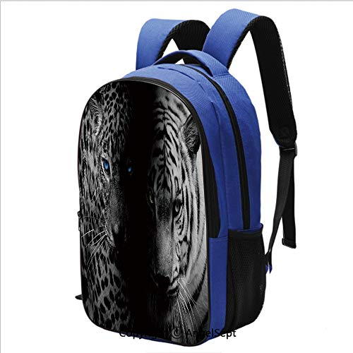 (School Backpack for Women Men Leopards Blue Eyes Aggressive Powerful Wildcat Profile Water Resistant Bookbag,Black White Blue)