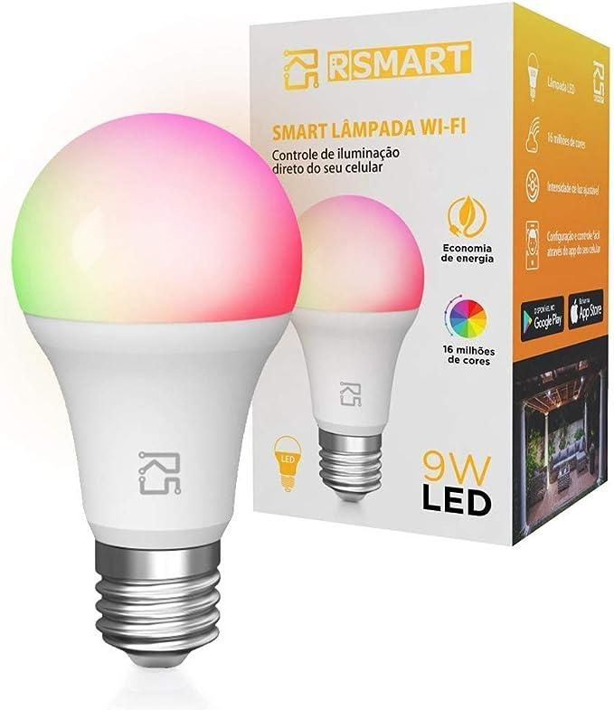 Smart Lâmpada Inteligente RSmart Wi-Fi LED 9W Branco Frio e Quente RGBW Compatível com Alexa por Rsmart