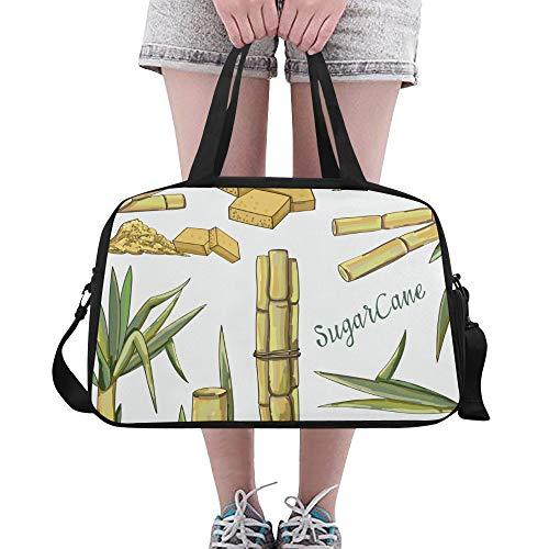 Tote Bags Sugar Cane Sweet Hard Fruits Useful Weekend Bag Sturdy Duffel Garment Bag For Men Gym Rats Dance Work Swimming Bag Duffel With Shoe Pounch (Sugar Cane Crop)