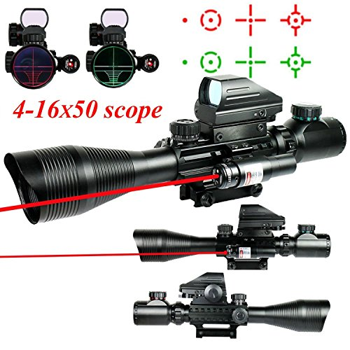 Cheap Higoo Telescopic Sight 4-16x50EG Green/Red Rangfinder Reticle Hunting Rifle Scope with Holographic 4 Reticle Sight & Red Laser Kit